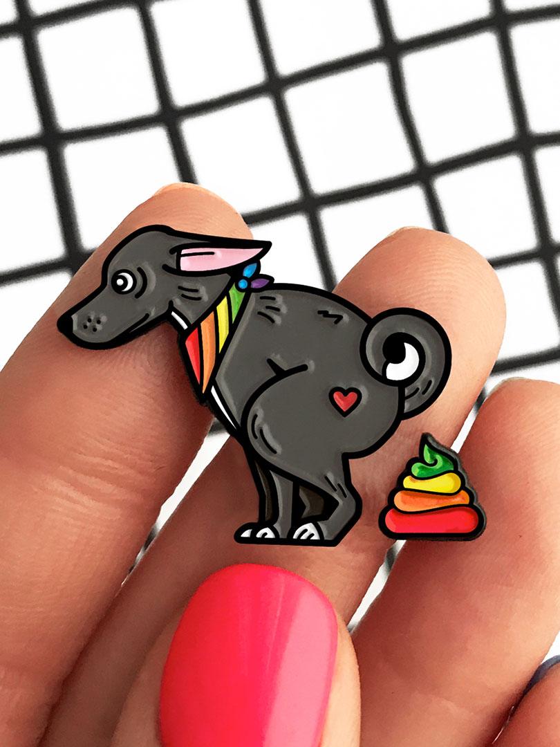 Grey Dog Rainbow Poop Enamel Pin | Pins | One Last One