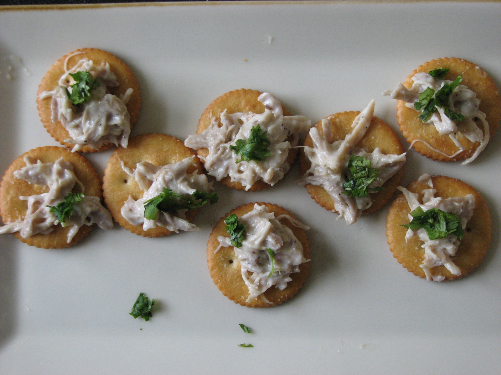 White chicken poppers - when I brought the plate to the coffee table