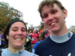 Adam and me at the finish line of the MCM 10k