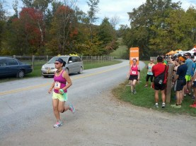 Leah finished up her first leg and handed off to Sheena at exchange 6