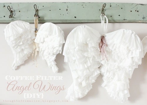 20 Beautiful Coffee Filter Crafts - Coffee Filter Angel Wings