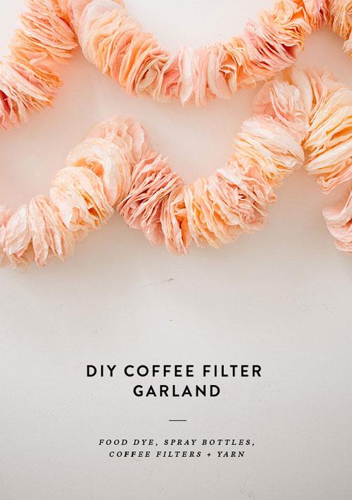 20 Beautiful Coffee Filter Crafts - Coffee Filter Garland