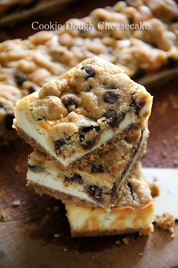 50+ Best Squares and Bars Recipes - Cookie Dough Cheesecake Bars