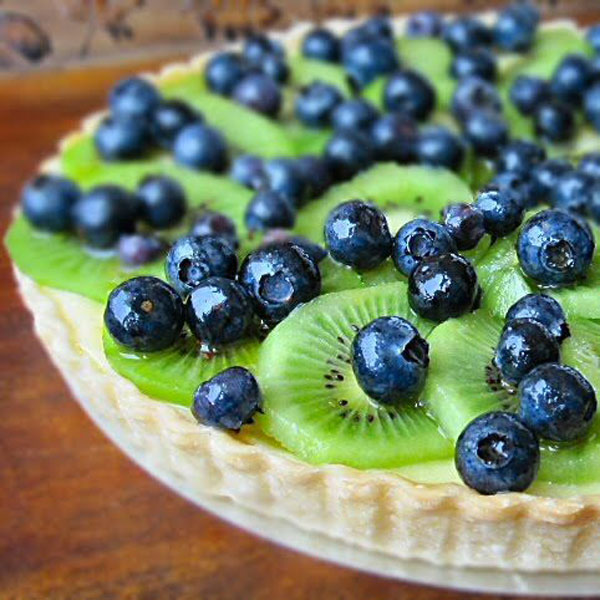 50+ Best Kiwi Recipes - Kiwi Blueberry Cream Cheese Tart