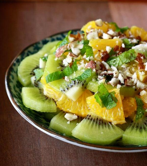 50+ Best Kiwi Recipes - Kiwi Salad with Honey Ginger Dressing