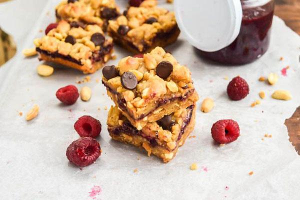 50+ Best Squares and Bars Recipes - Raspberry Chocolate Chip Crunchy PB&J Bars