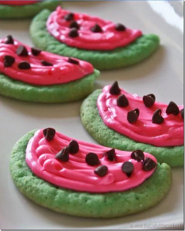 50+ Best Cookie Recipes - Watermelon Sugar Cookies