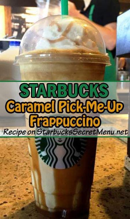 50+ Homemade Starbucks Recipes - Caramel Pick Me Up Frappuccino