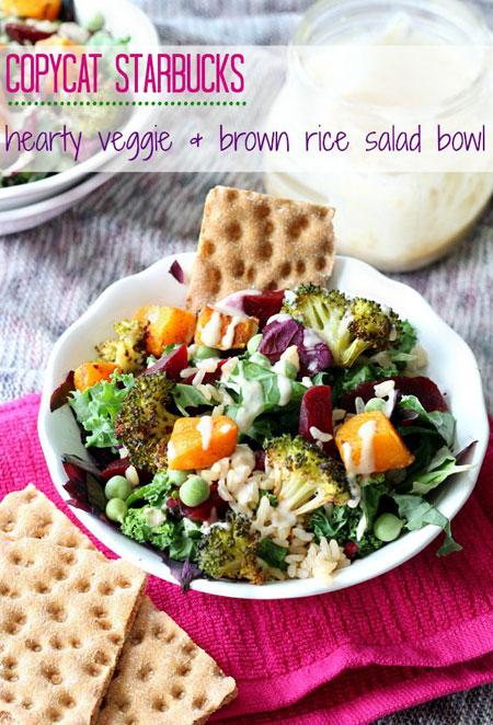 50+ Homemade Starbucks Recipes - Starbucks Hearty Veggie &-Brown Rice Salad Bowl