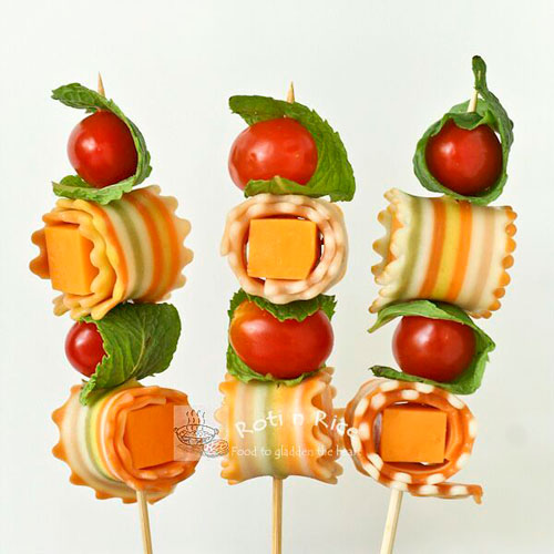 50+ Food on a Stick Lunch Ideas - Antipasti Kabobs