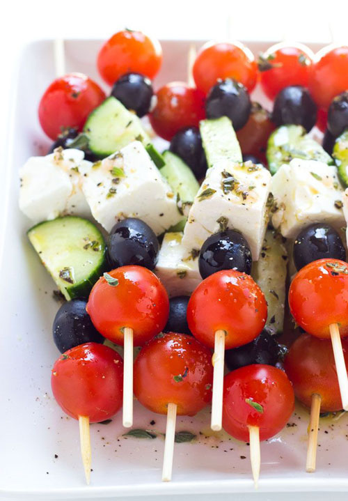 50+ Food on a Stick Lunch Ideas - Greek Salad Skewers