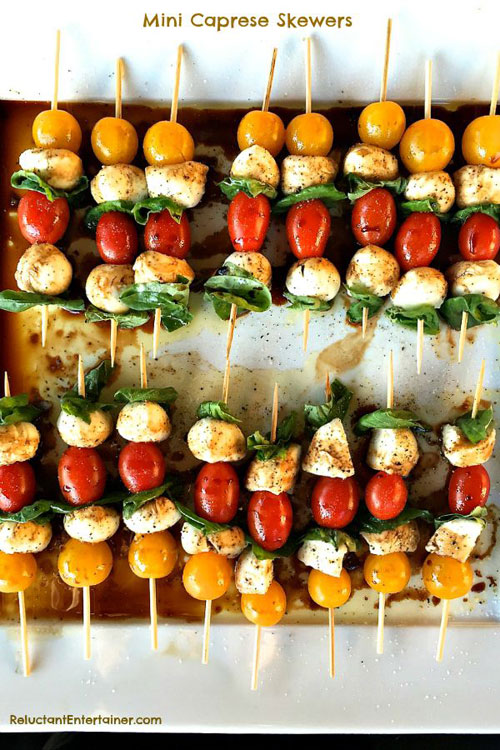 50+ Food on a Stick Lunch Ideas - Mini Caprese Skewers