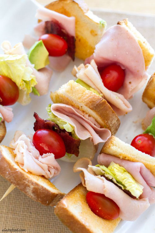 50+ Food on a Stick Lunch Ideas - The Ultimate Turkey Club Skewers