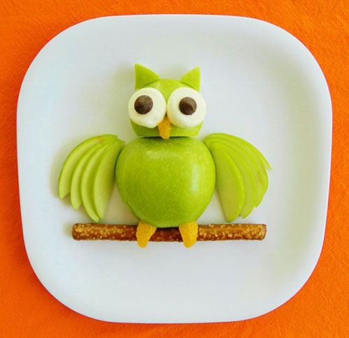 50+ Kids Food Art Lunches - Apple Owl Fruit Snack