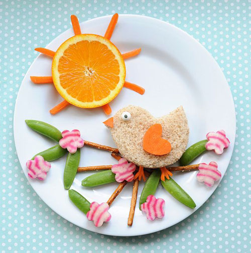 50+ Kids Food Art Lunches - Birdie in a Blossom Tree