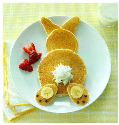 50+ Kids Food Art Lunches - Bunny Pancakes