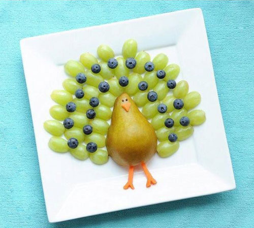 50+ Kids Food Art Lunches - Fruit Turkey