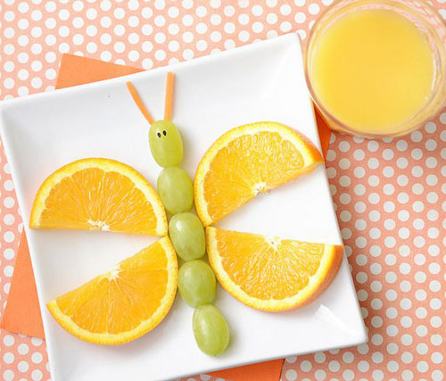 50+ Kids Food Art Lunches - Fruity Butterfly