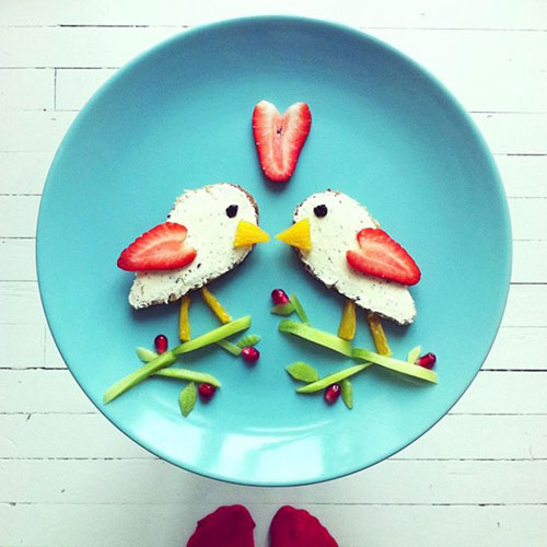 50+ Kids Food Art Lunches - Lovebirds