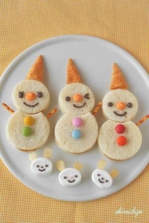 50+ Kids Food Art Lunches - Oyatsu Sand Snowman