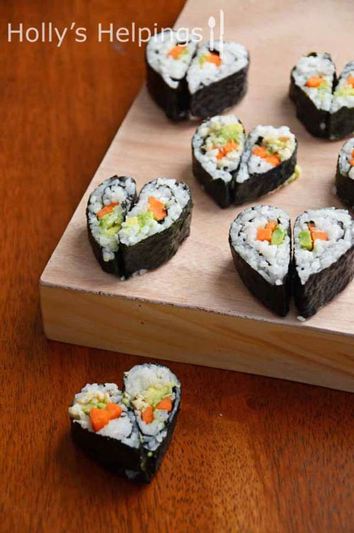 30+ Healthy Valentine's Day Food Ideas - Heart-Shaped Sushi