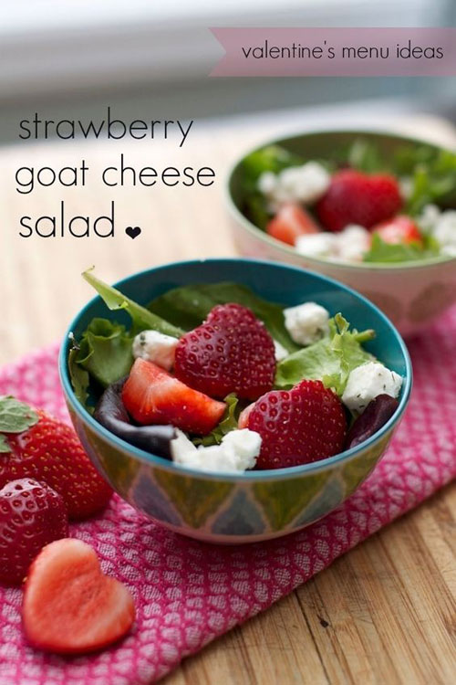 30+ Healthy Valentine's Day Food Ideas - Strawberry Goat Cheese Salad