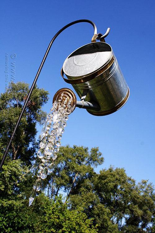 20 Best DIY Garden Crafts - Watering Can and Crystals Chandelier