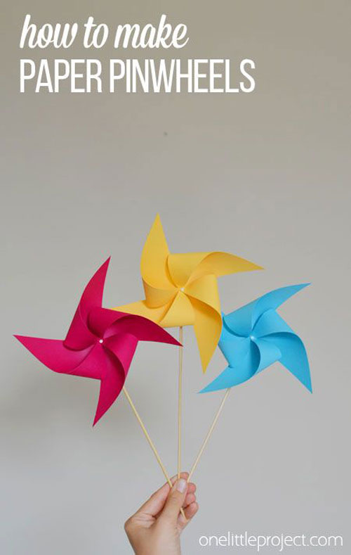 37 Awesome DIY Summer Projects - DIY Paper Pinwheels