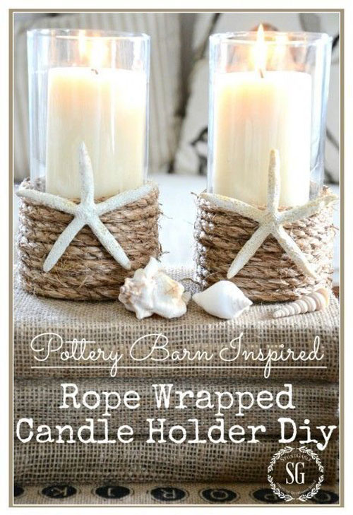 37 Awesome DIY Summer Projects - DIY Rope Wrapped Candle Holder
