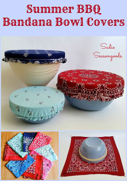 37 Awesome DIY Summer Projects - Vintage Bandana Bowl Covers