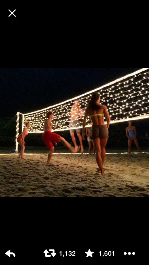 37 Awesome DIY Summer Projects - Volleyball Net with Christmas Lights