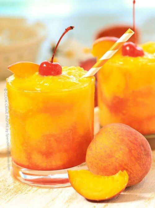 50+ Best Peach Recipes - Frozen Peach Champagne Cocktail
