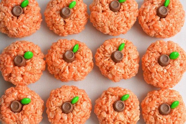 rice krispie treat pumpkins an easy halloween idea