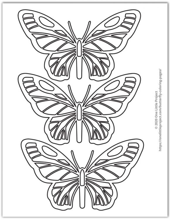 Easy Butterfly Coloring Pages : butterfly, coloring, pages, Butterfly, Coloring, Pages, Printable, Butterflies, Little, Project
