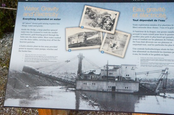 Water and Gravity, these interpretive signs were at the Dredge Number Four site. Note both English and French on these signs.
