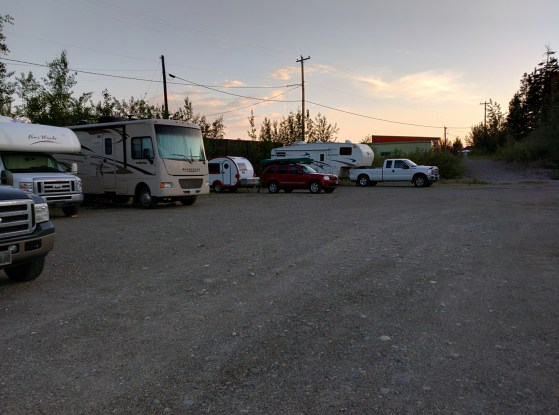 Late arrival, it is still quite light at 11pm. I was at the end of a long row of RVs and there was a row of RV's directly across as well.