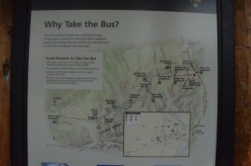 Why take the bus? Nice overview map of the park road. Visitor's center is at the right edge of the map.