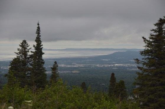 View from Upper Huffman Trailhead out over the south part of Anchorage.