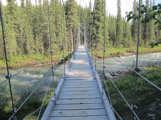 The suspended bridge reacts to your steps.