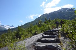 These stairs are set on top of the bedrock. The inclined bedrock can be a little tricky when there is a little sand, gravel or water on it, the steps allow you to pay attention to the view rather than your footing.