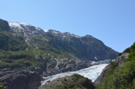 Note the waterfalls cascading down from the icefield above