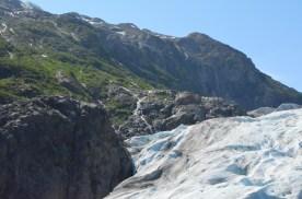 Rock, water, ice, vegetation, sky.