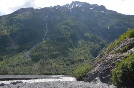 This view would have been entirely hidden in 1961 by the face of the glacier. Today it is a flat plain with a river in the middle. Keep in mind that all that water isn't just from this Glacier, it is also melt from up on the ice field.