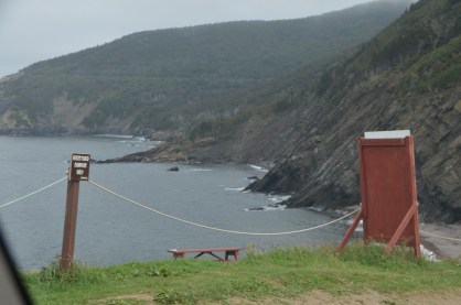 Campground at Meat Cove. Looking east where the road comes in.