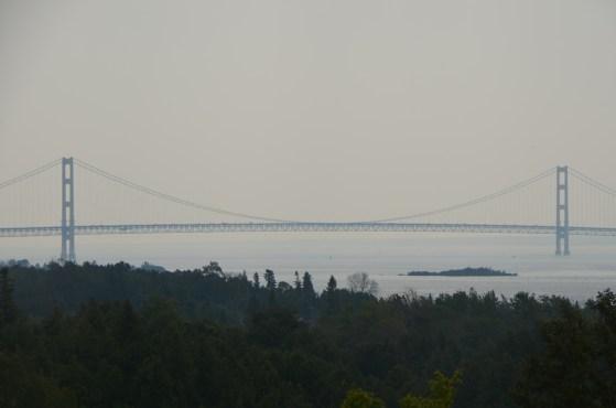 Mackinac Bridge connects upper and lower Michigan