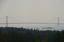 Mackinac Bridge connects upper and lower Michigan