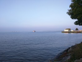 Boat coming in from Mackinac Island