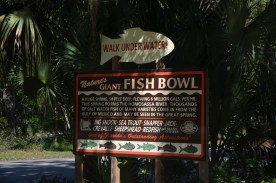 """Historical sign. """"Giant Fish Bowl"""". Currently just outside the park."""