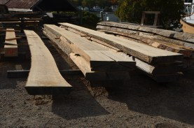 Rough cut boards stacked for drying