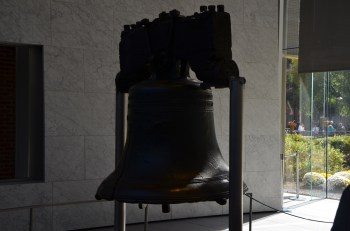 The liberty bell was very brightly backlit by the bright windows behind it. Not a very thoughtful design. While you can wander behind it, people generally don't because there are so many people trying to take photos in a line at the mouth of the area.